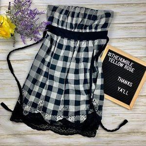 🌻4/18$ Bailey Blue Plaid Strapless Dress